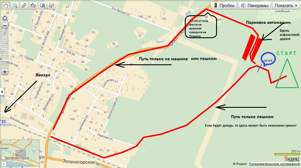 Схема подъезда до места старта